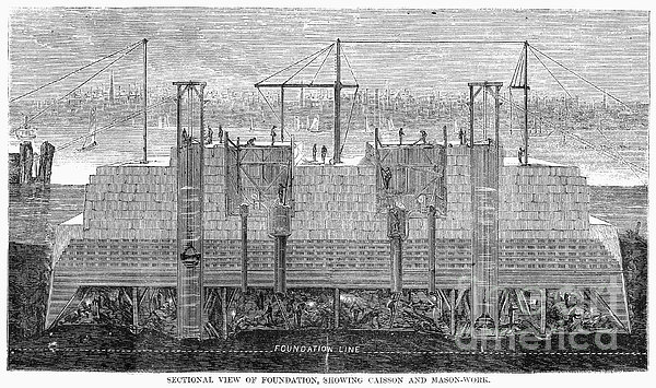 Brooklyn Bridge, 1870 Print by Granger