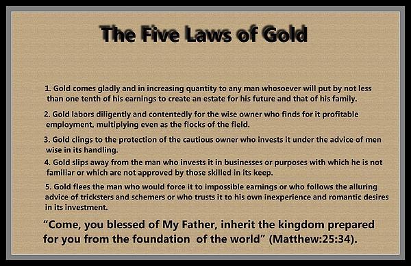 5 Laws Of Gold Print by Ricky Jarnagin