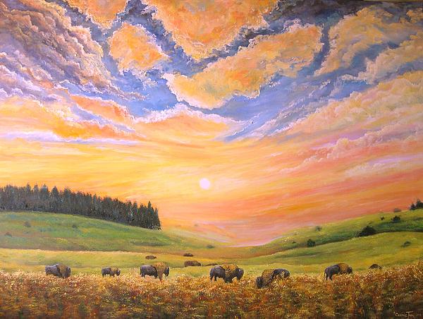 O Give Me A Home Where The Buffalo Roam Print by Connie Tom