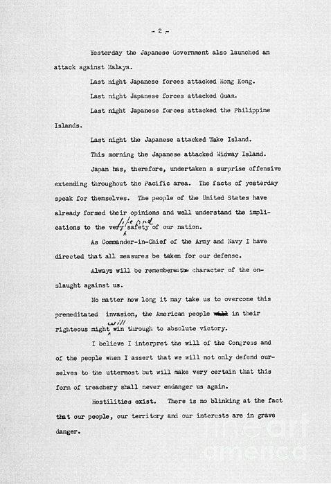 Roosevelt Speech, 1941 Print by Granger