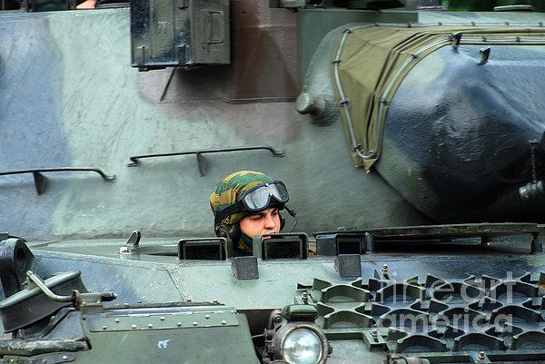 Tank Driver Of A Leopard 1a5 Mbt Print by Luc De Jaeger