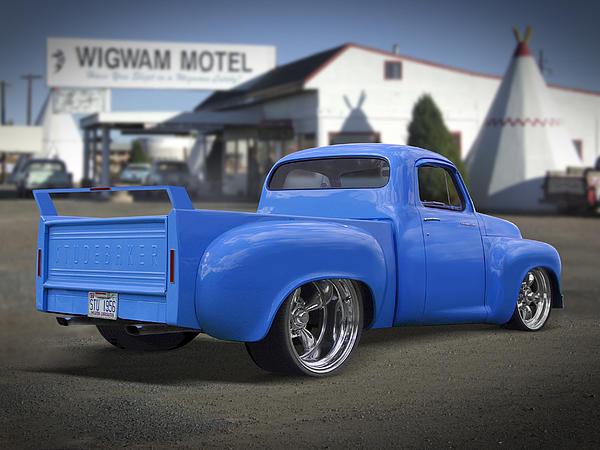 56 Studebaker At The Wigwam Motel Print by Mike McGlothlen
