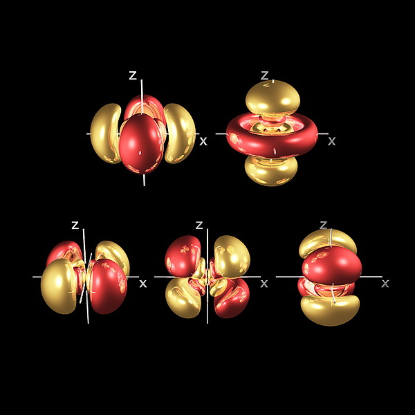 5d Electron Orbitals Print by Dr Mark J. Winter