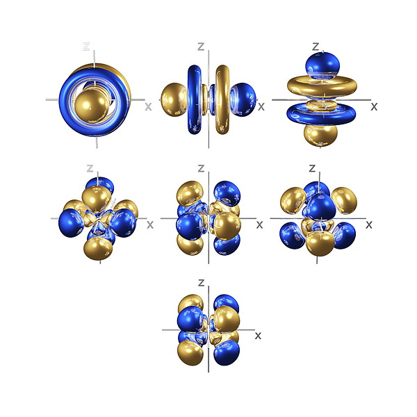5f Electron Orbitals, Cubic Set Print by Dr Mark J. Winter