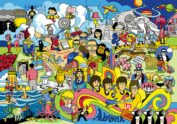 70 Illustrated Beatles' Song Titles Print by Ron Magnes