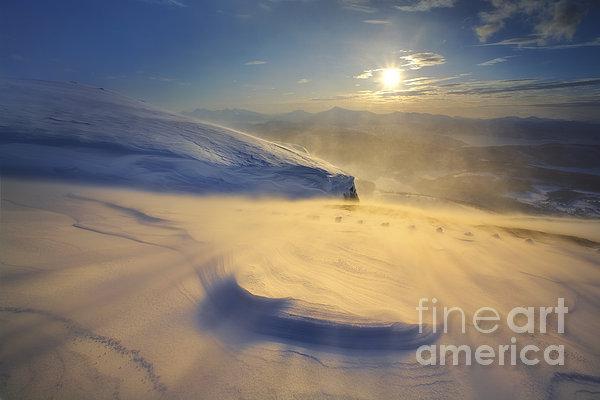 A Blizzard On Toviktinden Mountain Print by Arild Heitmann