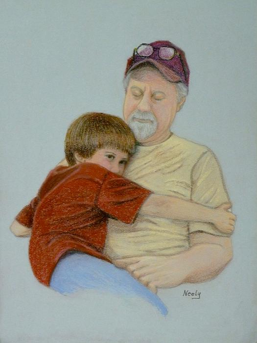 A Boy And His Dad Print by Pat Neely