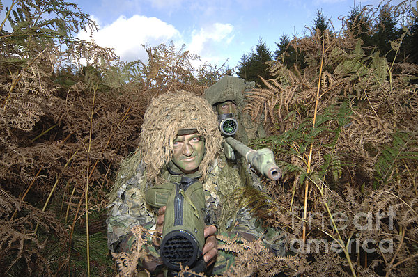 A British Army Sniper Team Dressed Print by Andrew Chittock