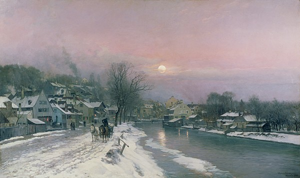 A Canal Scene In Winter  Print by Anders Anderson Lundby