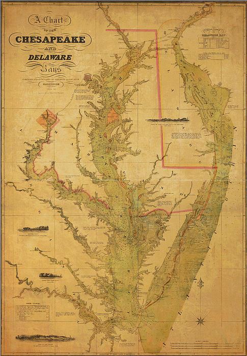 A Chart Chesapeake And Delaware Print by Randy Vreeke