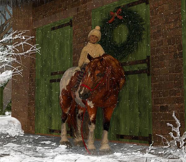 A Christmas Pony Print by Heather Douglas