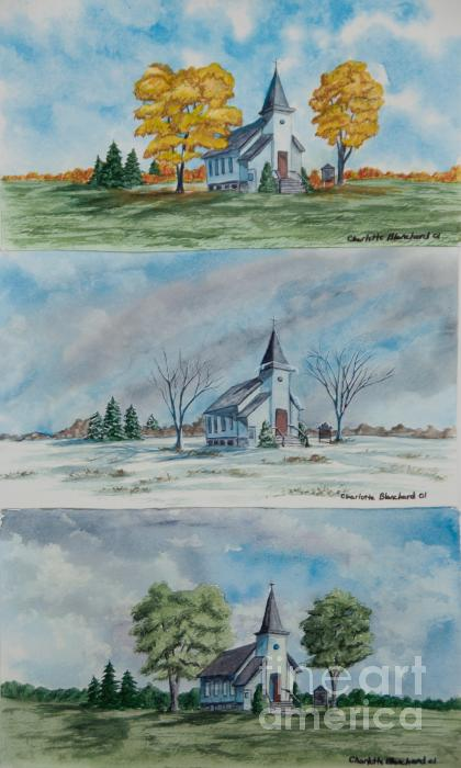 A Church For All Seasons Print by Charlotte Blanchard