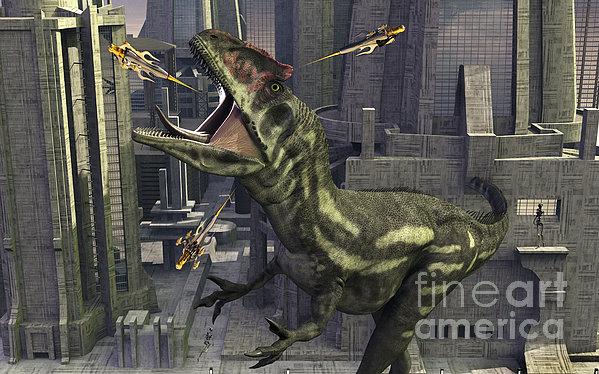 A Cloned Allosaurus Being Sedated Print by Mark Stevenson