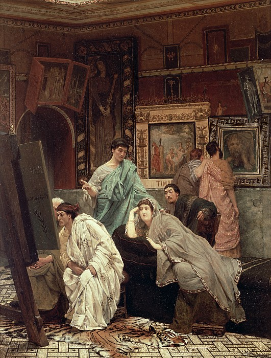 A Collector Of Pictures At The Time Of Augustus Print by Sir Lawrence Alma-Tadema