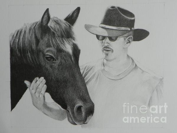 A Cowboy And His Horse Print by David Ackerson