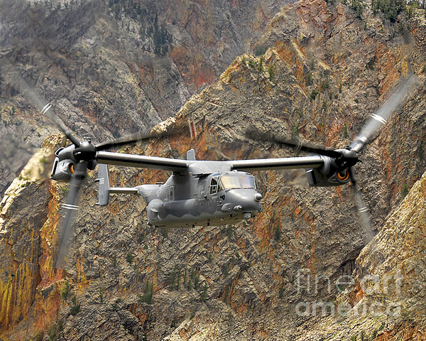 A Cv-22 Osprey Flies Over The Canyons Print by Stocktrek Images