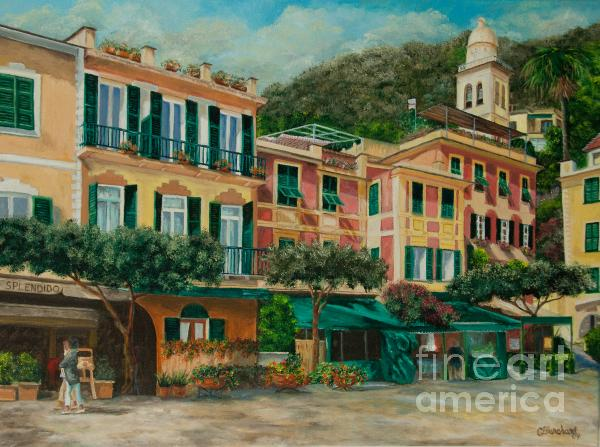 A Day In Portofino Print by Charlotte Blanchard