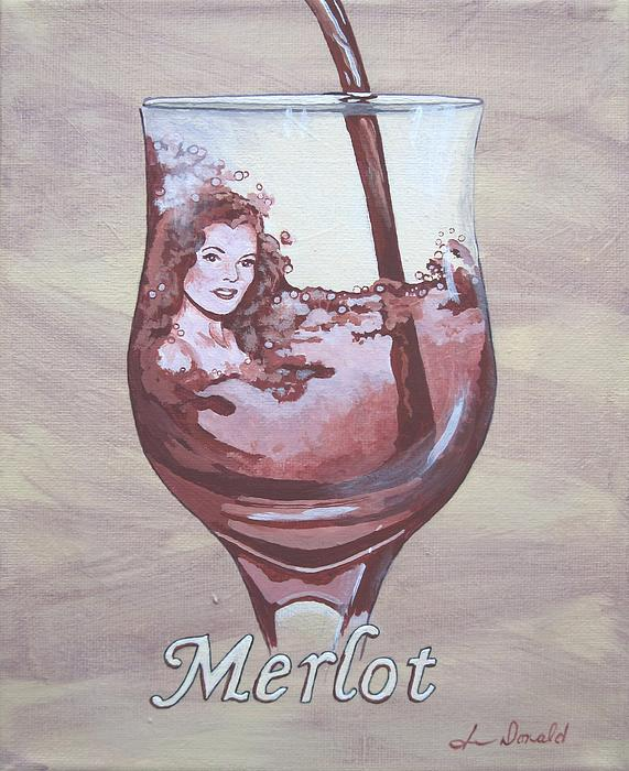 A Day Without Wine - Merlot Print by Jennifer  Donald