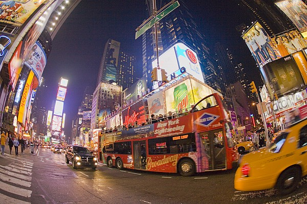 A Double Decker Bus On Broadway Print by Mike Theiss