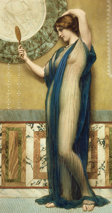 A Fair Reflection Print by John William Godward