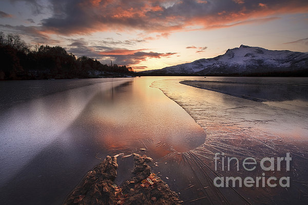 A Frozen Straumen Lake On Tjeldoya Print by Arild Heitmann