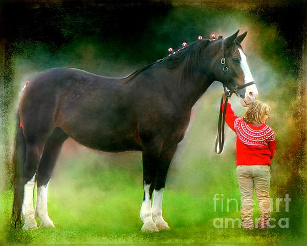 A Girl And Her Horse Print by Davandra Cribbie