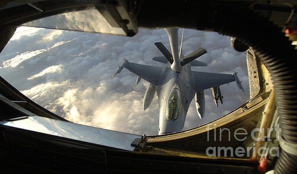 A Kc-135 Stratotanker Connects With An Print by Stocktrek Images