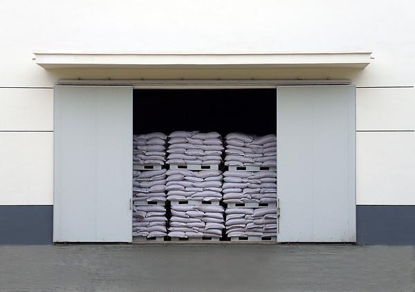 A Large Warehouse Entrance. Blocked Print by Guang Ho Zhu