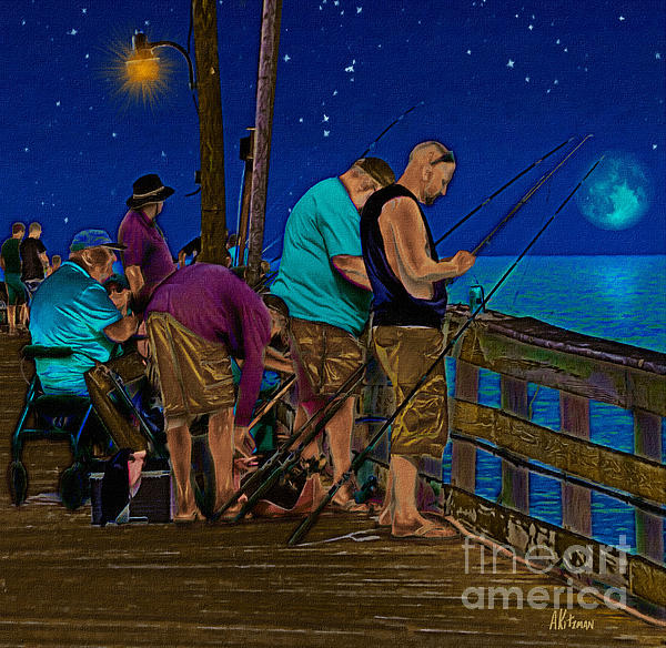 A Little Night Fishing At The Rodanthe Pier 2 Print by Anne Kitzman