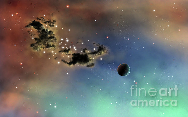 A Lonely Planet Is Lit By Two Stars Print by Brian Christensen