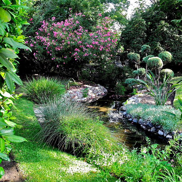 A Lovely Garden With Stream by Kirsten Giving