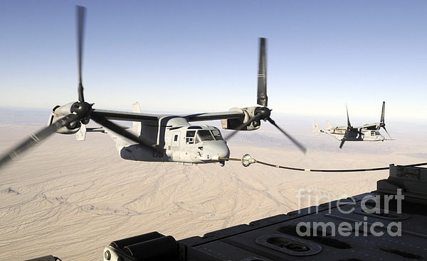 A Mv-22 Osprey Refuels Midflight While Print by Stocktrek Images
