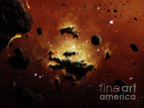 A Nebula Evaporates In The Far Distance Print by Brian Christensen