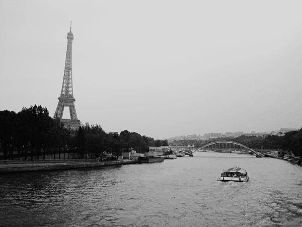 A Noir Look At The Eiffel Tower Print by Chris Ann Wiggins