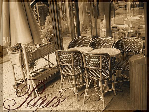 A Parisian Sidewalk Cafe In Sepia Print by Jennifer Holcombe
