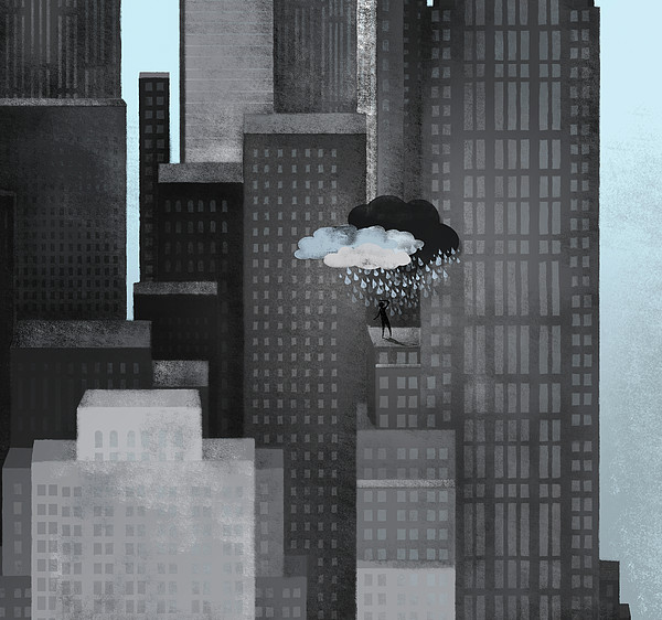 A Person On A Skyscraper Under A Storm Cloud Getting Rained On Print by Jutta Kuss