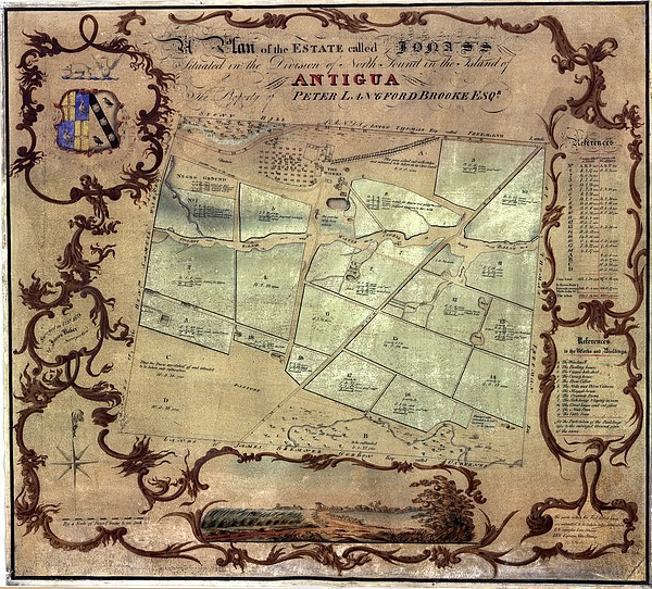 A Plan Of An English Colonists Estate Print by Everett