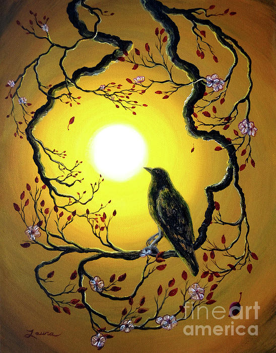 A Raven Remembers Spring Painting  - A Raven Remembers Spring Fine Art Print