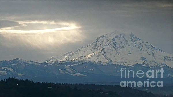 A Ring Of Bright Light Beside Mount Rainier Print by Sean Griffin