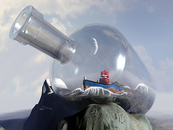 A Robot In A Bottle Print by Michael Knight