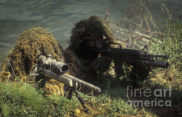 A Seal Sniper Swim Pair Set Up An Print by Michael Wood