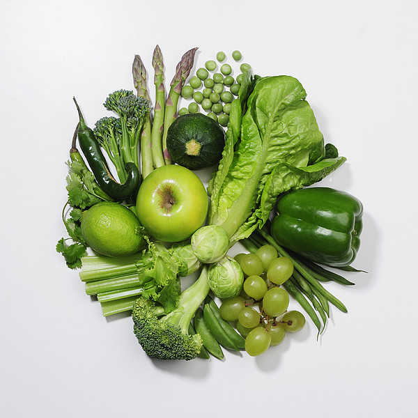 A Selection Of Green Fruits & Vegetables Print by David Malan