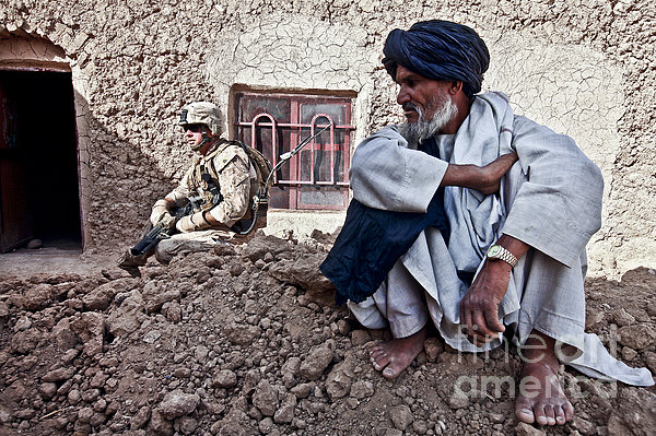 A Soldier Collects Information Print by Stocktrek Images