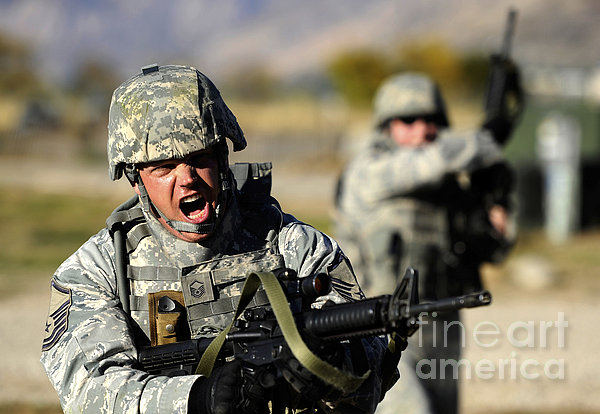 A Soldier Shows His Emotions Print by Stocktrek Images