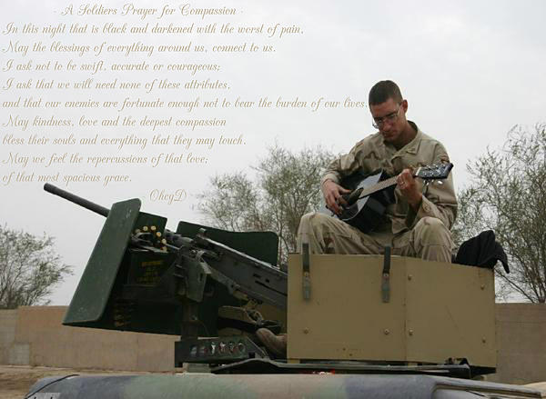 A Soldiers Prayer For Compassion Print by Dennis Welch