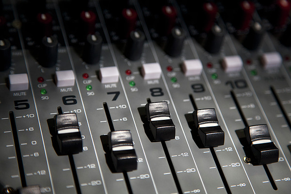 A Sound Mixing Board, Close-up, Full Frame Print by Tobias Titz