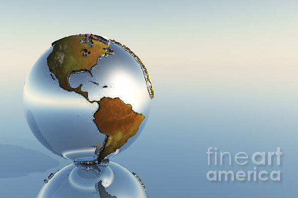 A Sphere Holding North And South Print by Corey Ford