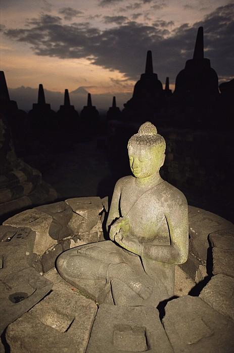 A Statue Of Buddha,  Borobudur, Java Print by Paul Chesley