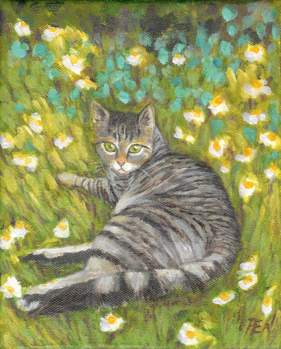 A Striped Cat On Floral Carpet Painting by Jingfen Hwu - A Striped ...