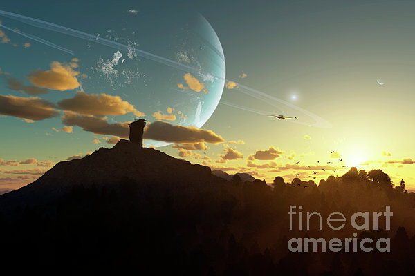 A Sunset On A Forested Moon Which Print by Brian Christensen